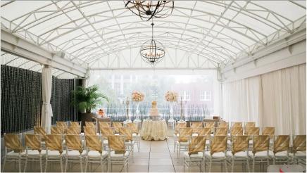 White and gold wedding décor on the Veranda